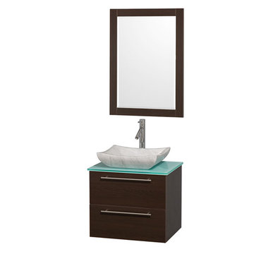 Wyndham Amare Espresso 24 Inch Vanity With Glass Top, Mirror And Carrera Marble Sink