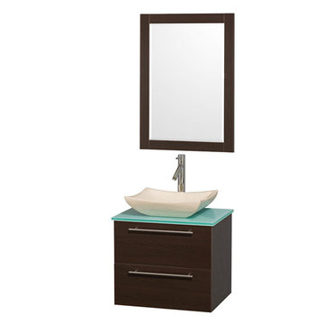 Wyndham Amare Espresso 24 Inch Vanity With Glass Top, Mirror And Ivory Sink