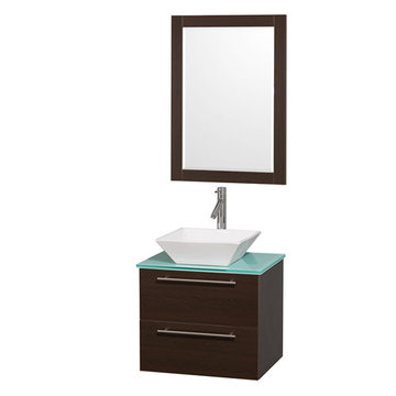 Wyndham Amare Espresso 24 Inch Vanity With Glass Top, Mirror And White Sink