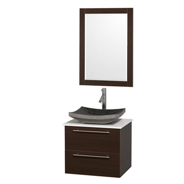Wyndham Amare Espresso 24 Inch Vanity With White Stone Top, Mirror And Black Sink