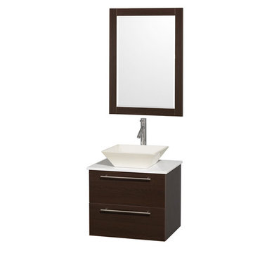 Wyndham Amare Espresso 24 Inch Vanity With White Stone Top, Mirror And Bone Sink