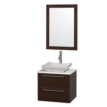 Wyndham Amare Espresso 24 Inch Vanity With White Stone Top, Mirror And Carrera Marble Sink