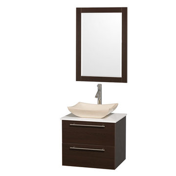 Wyndham Amare Espresso 24 Inch Vanity With White Stone Top, Mirror And Ivory Sink
