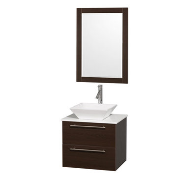 Wyndham Amare Espresso 24 Inch Vanity With White Stone Top, Mirror And White Sink