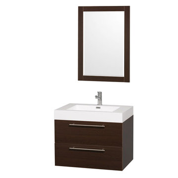 Wyndham Amare Espresso 30 Inch Vanity With Acrylic And Mirror