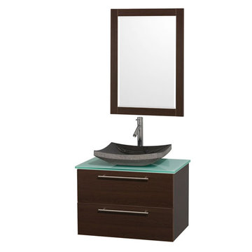 Wyndham Amare Espresso 30 Inch Vanity With Glass Top, Mirror And Black Sink