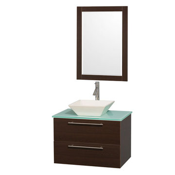 Wyndham Amare Espresso 30 Inch Vanity With Glass Top, Mirror And Bone Sink