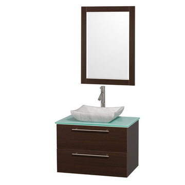 Wyndham Amare Espresso 30 Inch Vanity With Glass Top, Mirror And Carrera Marble Sink