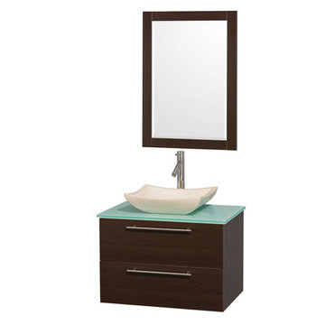 Wyndham Amare Espresso 30 Inch Vanity With Glass Top, Mirror And Ivory Sink