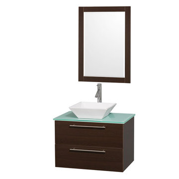 Wyndham Amare Espresso 30 Inch Vanity With Glass Top, Mirror And White Sink