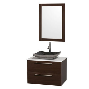 Wyndham Amare Espresso 30 Inch Vanity With White Stone Top, Mirror And Black Sink