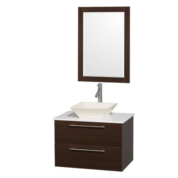 Wyndham Amare Espresso 30 Inch Vanity With White Stone Top, Mirror And Bone Sink