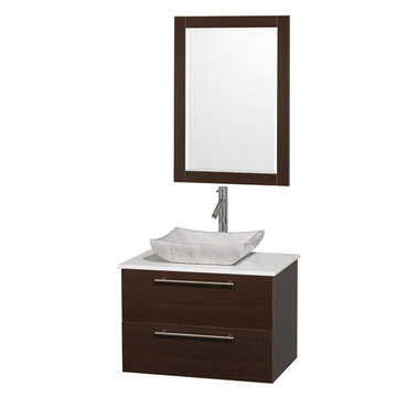 Wyndham Amare Espresso 30 Inch Vanity With White Stone Top, Mirror And Carrera Marble Sink