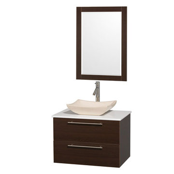 Wyndham Amare Espresso 30 Inch Vanity With White Stone Top, Mirror And Ivory Sink