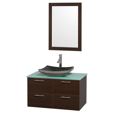 Wyndham Amare Espresso 36 Inch Vanity With Glass Top, Black Sink And Mirror