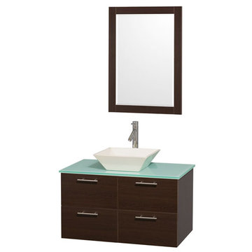 Wyndham Amare Espresso 36 Inch Vanity With Glass Top, Bone Sink And Mirror