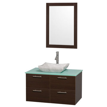 Wyndham Amare Espresso 36 Inch Vanity With Glass Top, Carrera Marble Sink And Mirror