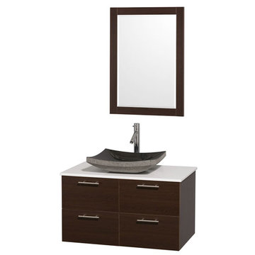 Wyndham Amare Espresso 36 Inch Vanity With White Stone Top, Black Sink And Mirror