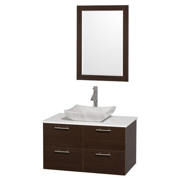 Wyndham Amare Espresso 36 Inch Vanity With White Stone Top, Carrera Marble Sink And Mirror