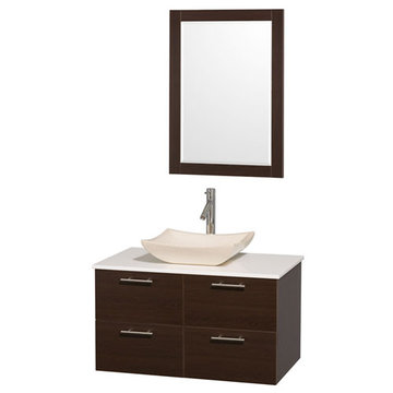 Wyndham Amare Espresso 36 Inch Vanity With White Stone Top, Ivory Sink And Mirror