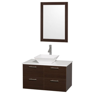 Wyndham Amare Espresso 36 Inch Vanity With White Stone Top, White Sink And Mirror