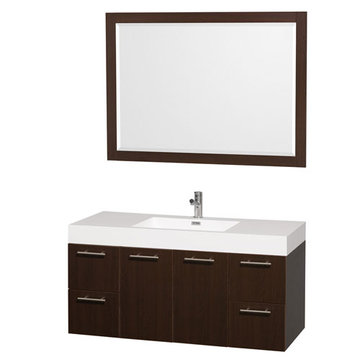 Wyndham Amare Espresso 48 Inch Vanity With Acrylic And Mirror