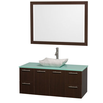 Wyndham Amare Espresso 48 Inch Vanity With Glass Top, Black Sink And Mirror