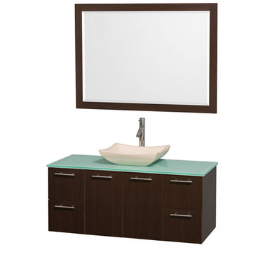 Wyndham Amare Espresso 48 Inch Vanity With Glass Top, Carrera Marble Sink And Mirror