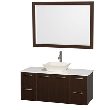 Wyndham Amare Espresso 48 Inch Vanity With White Stone Top, Bone Sink And Mirror