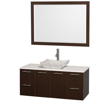 Wyndham Amare Espresso 48 Inch Vanity With White Stone Top, Carrera Marble Sink And Mirror