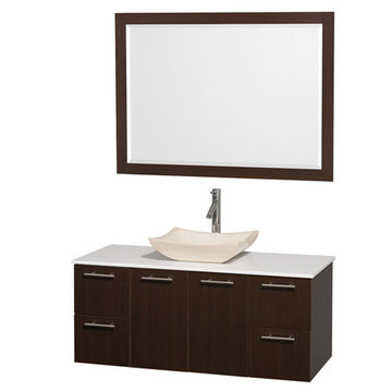 Wyndham Amare Espresso 48 Inch Vanity With White Stone Top, Ivory Sink And Mirror