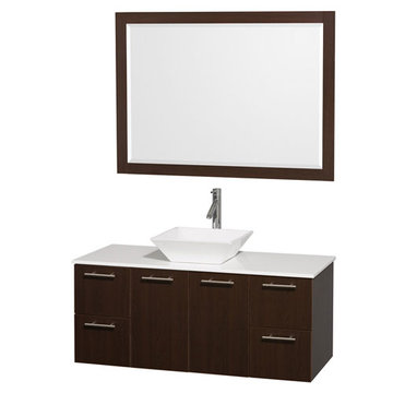 Wyndham Amare Espresso 48 Inch Vanity With White Stone Top, White Sink And Mirror