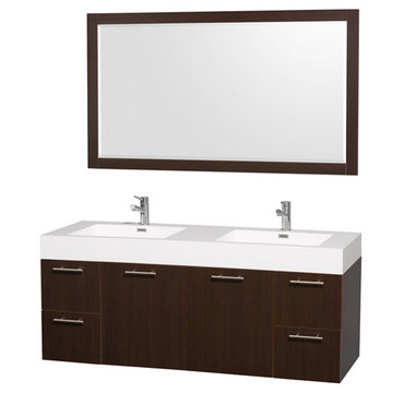 Wyndham Amare Espresso 60 Inch Double Vanity With Acrylic And Mirror