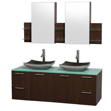 Wyndham Amare Espresso 60 Inch Double Vanity With Glass Top, Black Sinks And Medicine Cabinets
