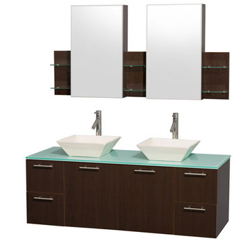 Wyndham Amare Espresso 60 Inch Double Vanity With Glass Top, Bone Sinks And Medicine Cabinets