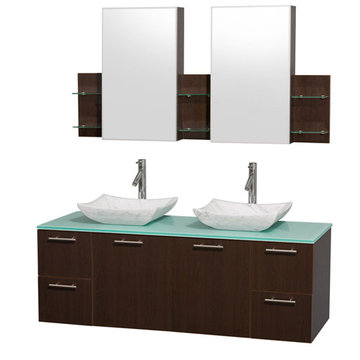 Wyndham Amare Espresso 60 Inch Double Vanity With Glass Top, Carrera Marble Sinks And Medicine Cabinets