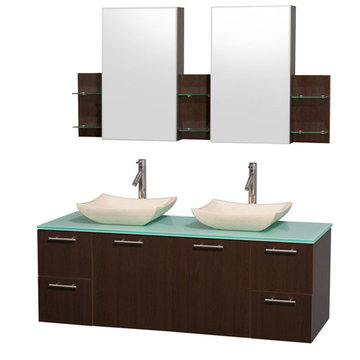 Wyndham Amare Espresso 60 Inch Double Vanity With Glass Top, Ivory Sinks And Medicine Cabinets