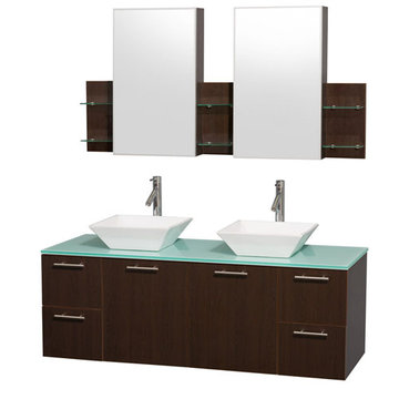 Wyndham Amare Espresso 60 Inch Double Vanity With Glass Top, White Sinks And Medicine Cabinets