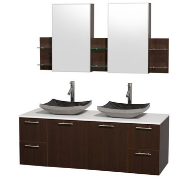 Wyndham Amare Espresso 60 Inch Double Vanity With White Stone Top, Black Sinks And Medicine Cabinets