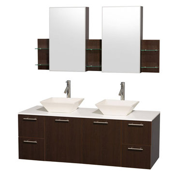 Wyndham Amare Espresso 60 Inch Double Vanity With White Stone Top, Bone Sinks And Medicine Cabinets