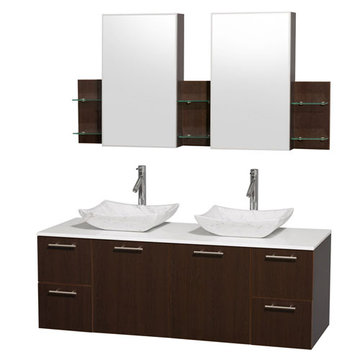 Wyndham Amare Espresso 60 Inch Double Vanity With White Stone Top, Carrera Marble Sinks And Medicine Cabinets