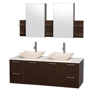 Wyndham Amare Espresso 60 Inch Double Vanity With White Stone Top, Ivory Sinks And Medicine Cabinets