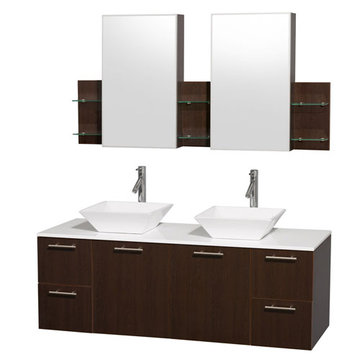 Wyndham Amare Espresso 60 Inch Double Vanity With White Stone Top, White Sinks And Medicine Cabinets