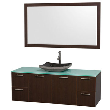 Wyndham Amare Espresso 60 Inch Single Vanity With Glass Top, Black Sink And Mirror