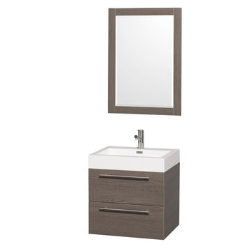 Wyndham Amare Gray Oak 24 Inch Vanity With Acrylic And Mirror