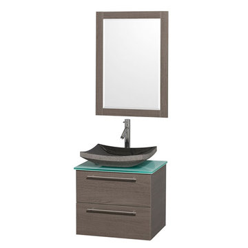 Wyndham Amare Gray Oak 24 Inch Vanity With Glass Top, Mirror And Black Sink