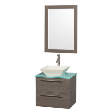 Wyndham Amare Gray Oak 24 Inch Vanity With Glass Top, Mirror And Bone Sink