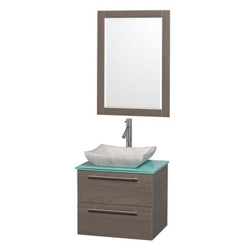 Wyndham Amare Gray Oak 24 Inch Vanity With Glass Top, Mirror And Carrera Marble Sink