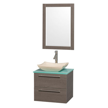 Wyndham Amare Gray Oak 24 Inch Vanity With Glass Top, Mirror And Ivory Sink