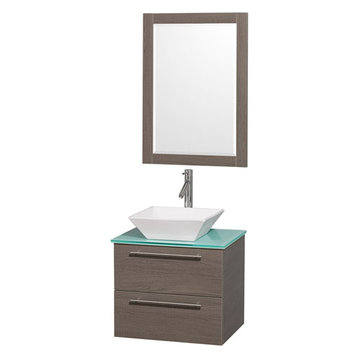 Wyndham Amare Gray Oak 24 Inch Vanity With Glass Top, Mirror And White Sink